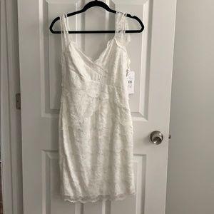 David's bridal short white v neck dress size 2